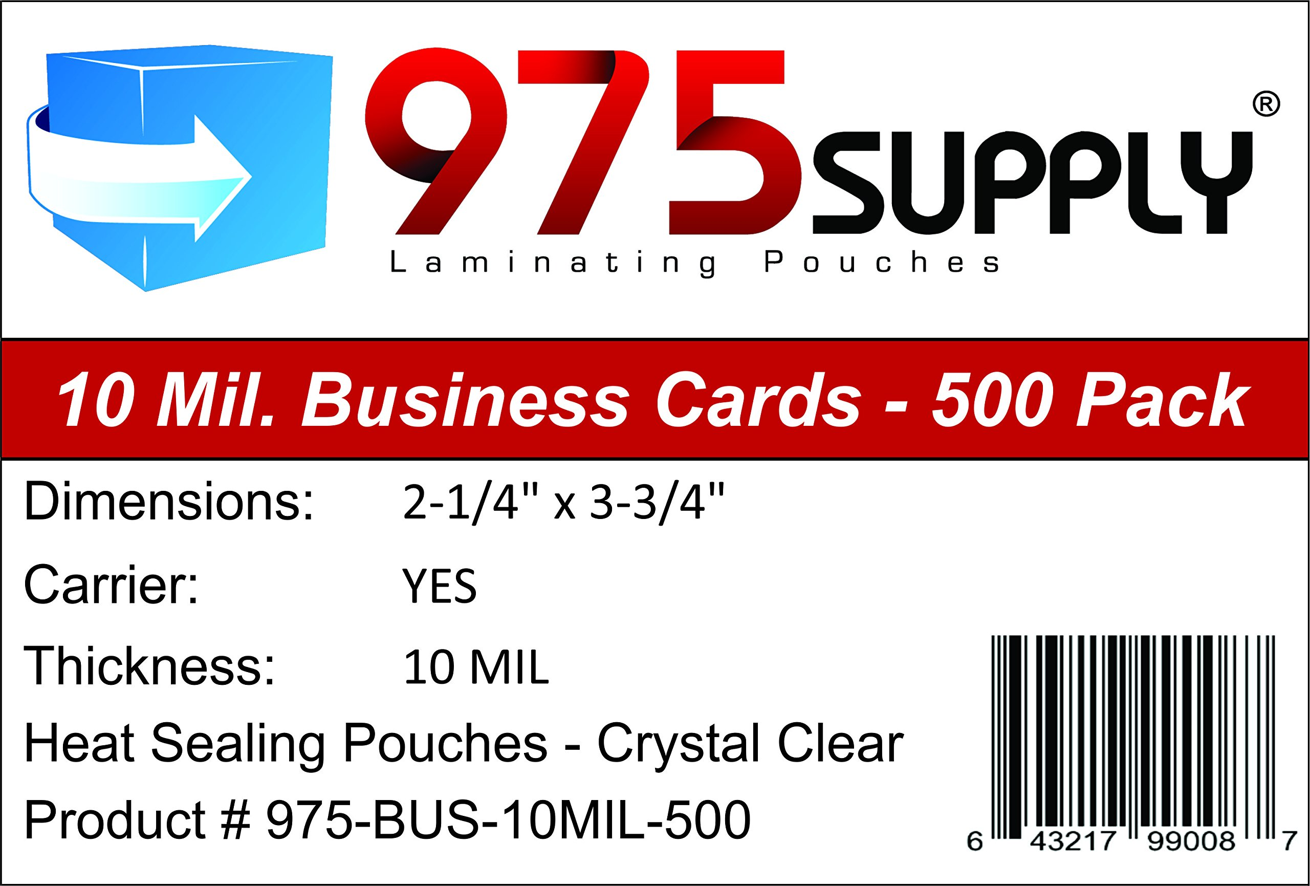 975 Supply - 10 Mil Business Card Laminating Pouches - 2-1/4'' x 3-3/4'' - 500 Pouches