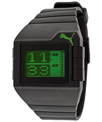 Amazon.com: Puma Mens Dont Run Out Of Steam Multi-Function Green Digital Dial Black Silicone: Watches