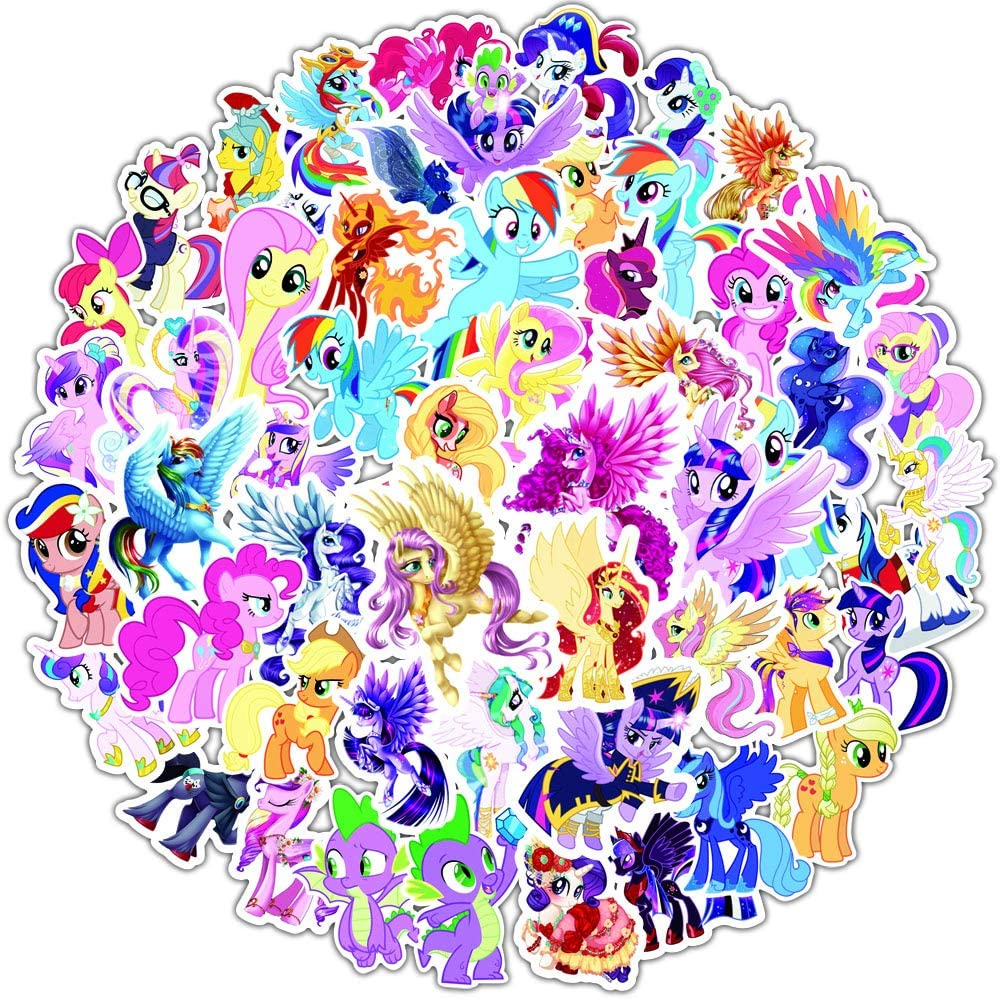 My Little Pony Stickers for Kids,90pcs Unicon Stickers for Laptop Water Bottles Hydro Flask Car Bumper Skateboard Guitar Bike Luggage Waterproof Vinyl Decals Cool Graffiti Stickers Pack