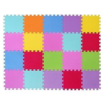 7a7de46b4ae Alfombra puzzle de juego CIGIOKI goma eva modular de color 20 piezas 30X30  cm  Amazon.es  Juguetes y juegos