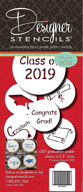 2019 Graduate Cookie Stencil Set C207-19 by Designer Stencils