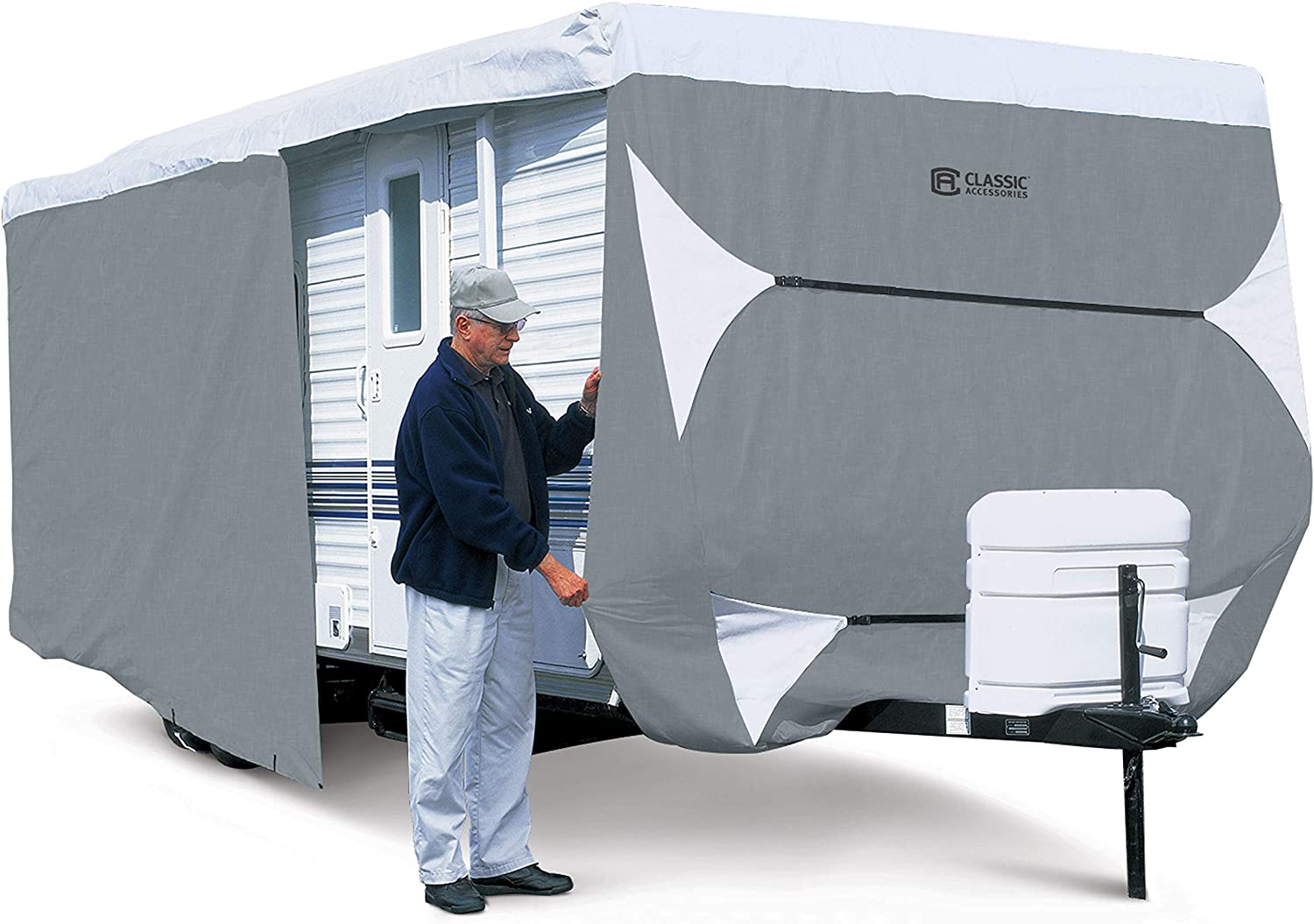 and Ramp Door Waterproof Durable RV Motorhome Travel Trailer//Toy Hauler Cover Fits Length 30-33 Travel Trailer Camper Zippered Panels Allow Access To The Door Engine Side Storage Areas