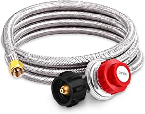 Kohree 0-20 PSI High Pressure Propane Adjustable Regulator with 8 Feet Stainless Steel Braided Hose QCC-1 Type for Newer U.S. Propane Tanks, Burner, Cooker