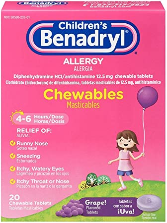 Benadryl Childrens Allergy Chewable Tablets, Grape Flavored 20 ea (3 Pack)