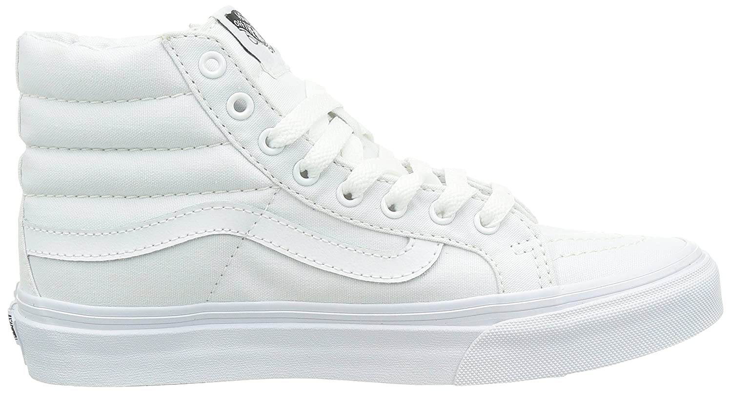 Vans Unisex Sk8-Hi Slim 8.5 Women's Skate Shoe B07DFV7MVB 8.5 Slim M US Women / 7 M US Men|(Canvas) True White d19ed6