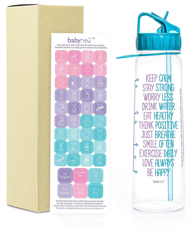 30oz妊娠時間マークウォーターボトルMotivational Quote。Weeklyステッカーカレンダーwith Trimester間隔。BPAフリー、環境に優しい、再利用可能な、with Straw、Sip上、とキャリーループ。 B076L1D6QG アクア