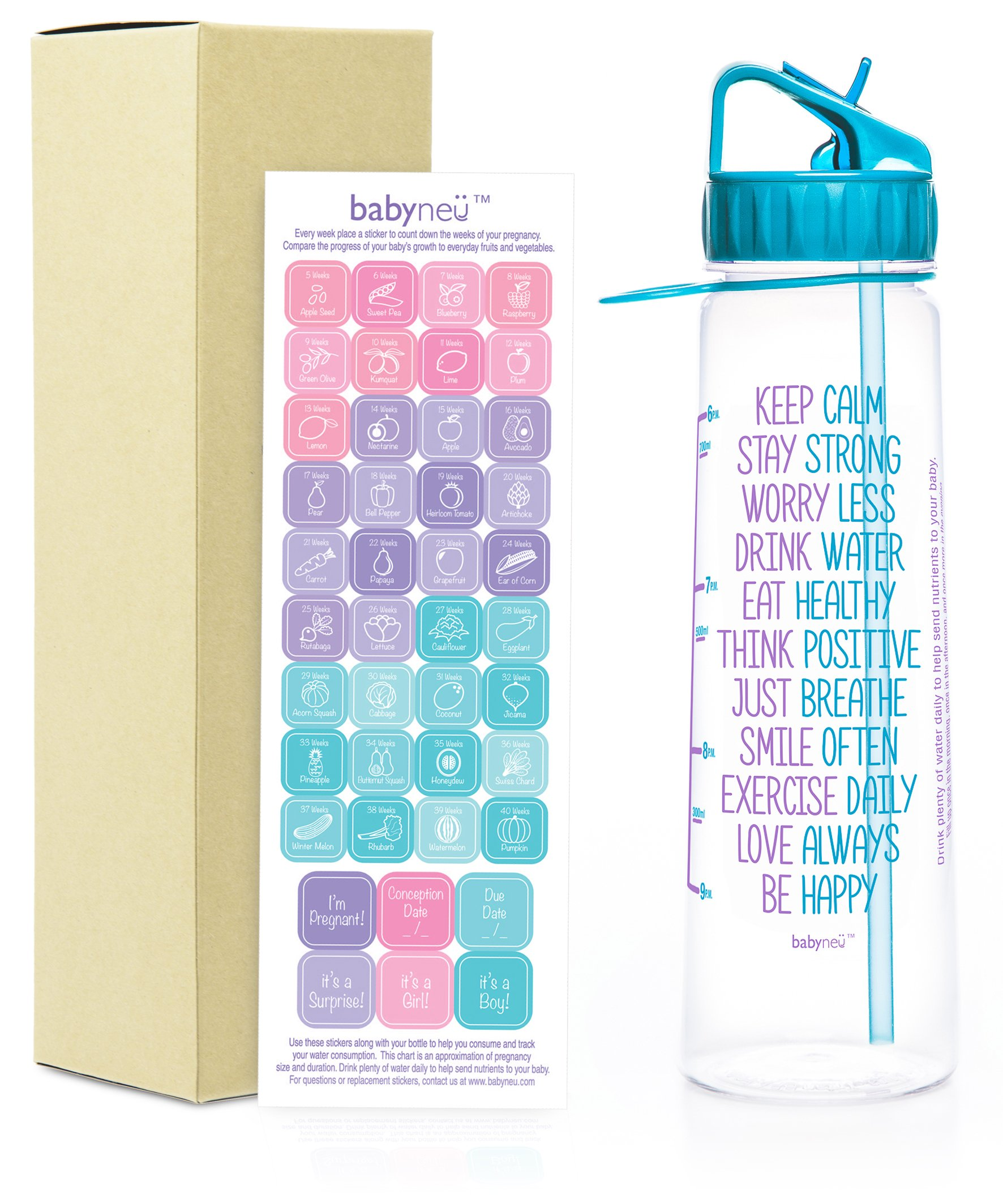 babyneü Pregnancy Gift Time Marked Water Bottle with Motivational Quote, weekly timeline stickers. Designed to help you reach your Daily Water Intake. BPA-Free, straw, sip top, carry loop(BABST Aqua)