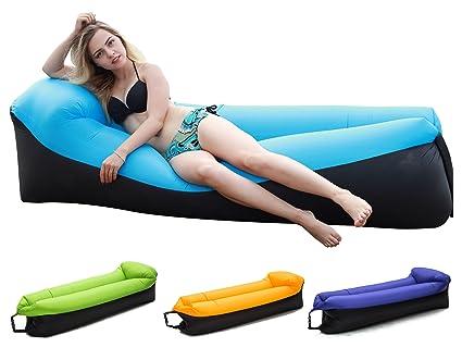 Amazon.com: Tumbona silla inflable con bolsa portátil para ...