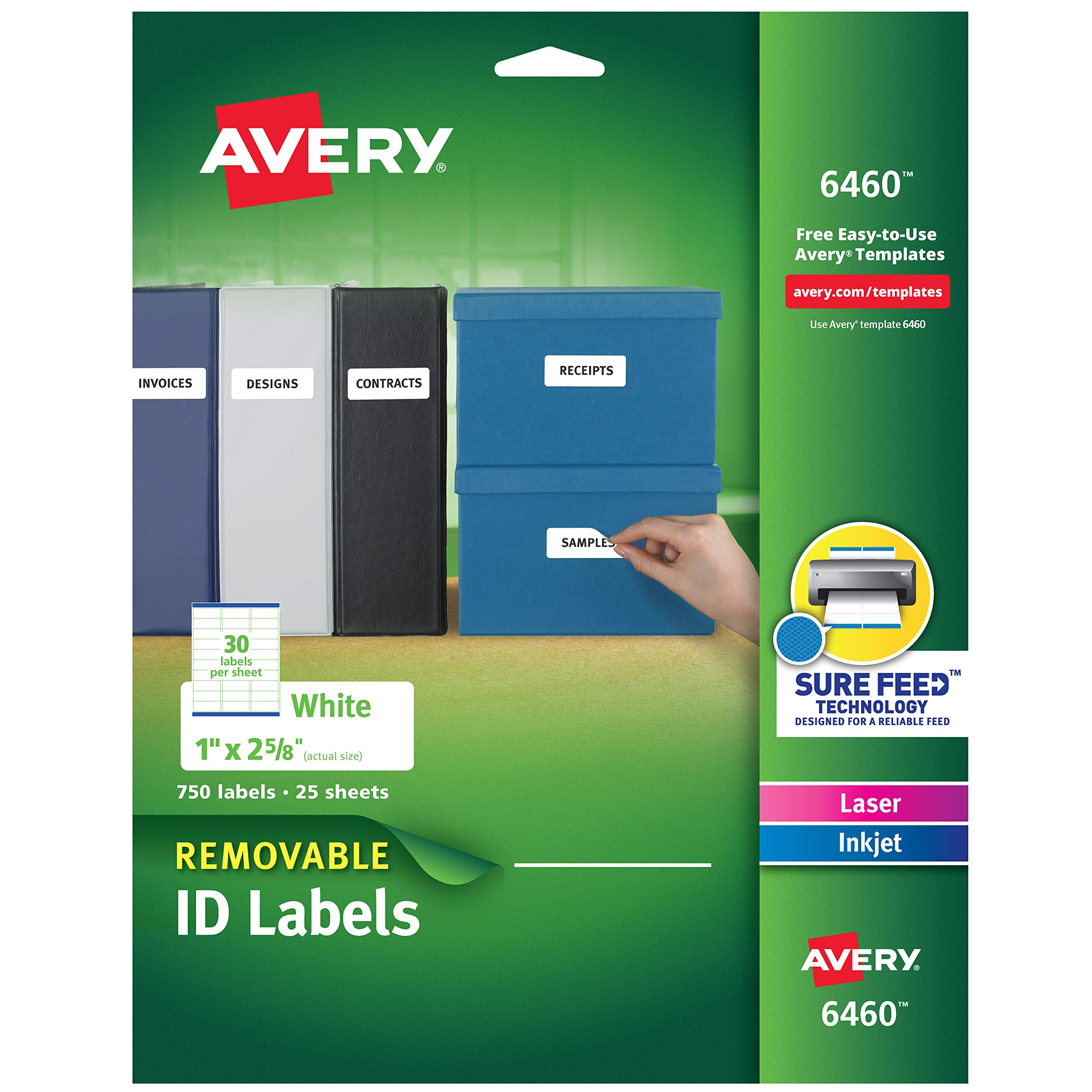 Avery Removable 1 x 2 5/8 Inch White ID Labels 750 Count (6460) by AVERY
