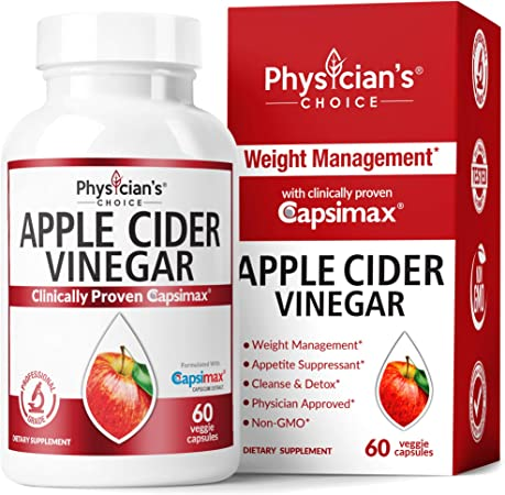 Apple Cider Vinegar Capsules for Weight Loss Support (Award Winning Capsimax Formula), Fat Burners for Women & Men, Promotes Appetite Management, Metabolism Booster, Organic, Non-GMO, 60 Pills