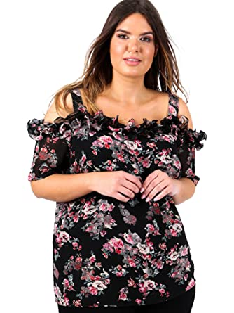 30844ded0cf23 Lovedrobe Koko Women s Plus Size Black Floral Print Cold Shoulder Top ...