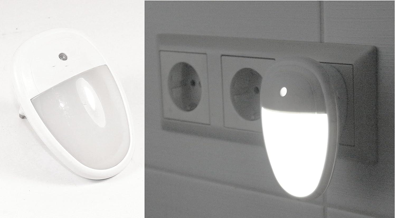 2×LED Nachtlicht Notlicht EU Steckdose Lampen mit Dämmerungssensor Warm Weiß DE