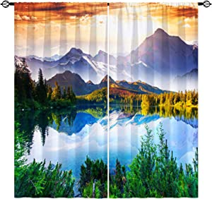 ANHOPE Landscape Curtains Nature Scenery Theme Window Drapes with Forest Lake Mountain Scene Print Pattern Rod Pocket Room Decor Curtains for Bedroom Living Room Office Cafe, 2 Panels, 42 x 63 Inch