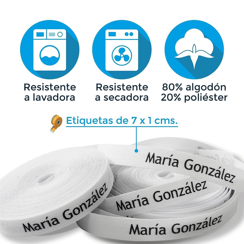 100 ETIQUETAS DE TELA PARA MARCAR LA ROPA (PLANCHAR) CINTA TERMOADHESIVA PARA GUARDERIAS, ESCUELAS, COLEGIOS Y RESIDENCIAS. ETIQUETAS PERSONALIZADAS ...