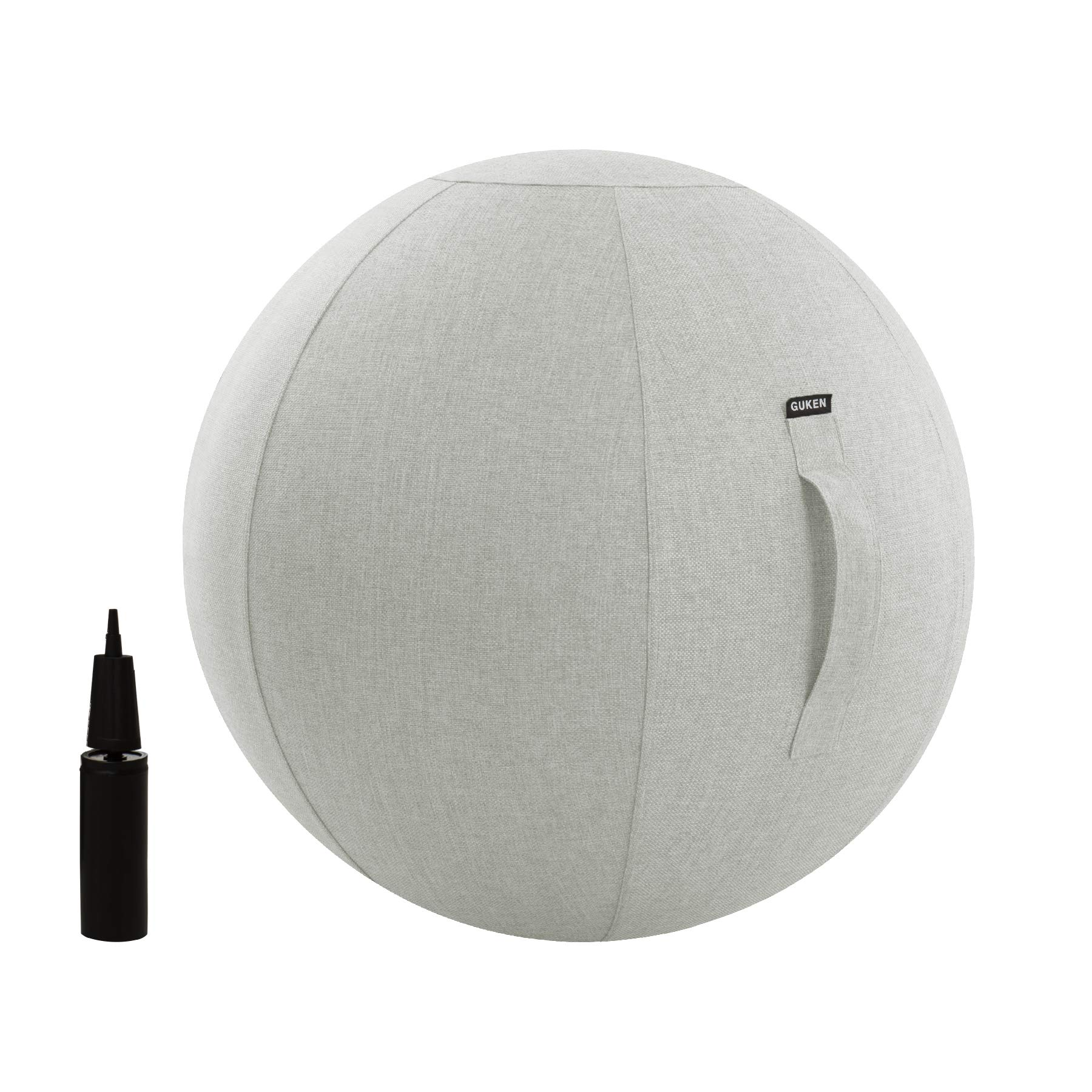 Exercise Ball (65cm Light Gray) Extra Thick Yoga Ball Chair,Yoga Ball Cover Anti-Burst Heavy Duty Stability Ball Supports 2200lbs, Fitness and Birthing Ball with Inflator and Handle(Office & Home & Gy
