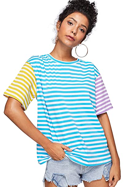 acdc4ef7eb8053 ROMWE Women's Short Sleeve Cut and Sew Colorblock Mix Patch Striped Print  Loose Fit Tee Shirt
