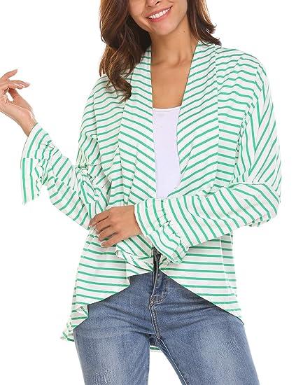 dc7c35e573 SoTeer Women s Casual Long Sleeve Open Front Draped Stripe Cardigan ...