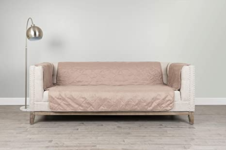 Serta | Diamond Quilted Furniture Protector for Sofa with Patended No-Slip Design & Easy-Fit Bands, (Stonewear)