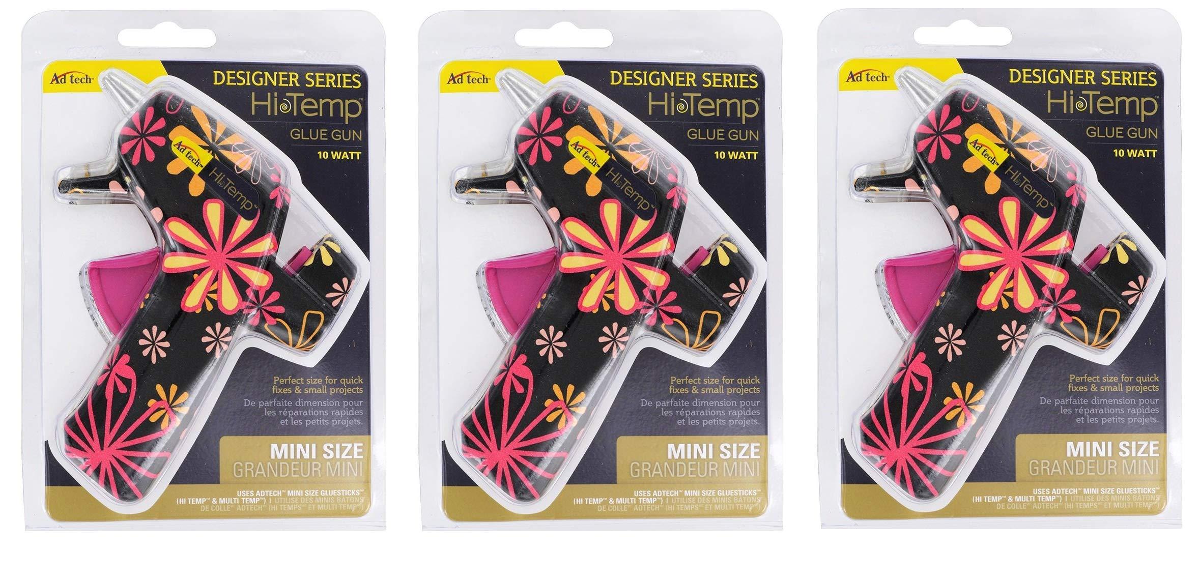AdTech High Temp Mini Hot Glue Gun in Black Daisy   Arts and Crafts and DIY   Fun and Cute Tool   Item #0502 (Тhree Pаck)