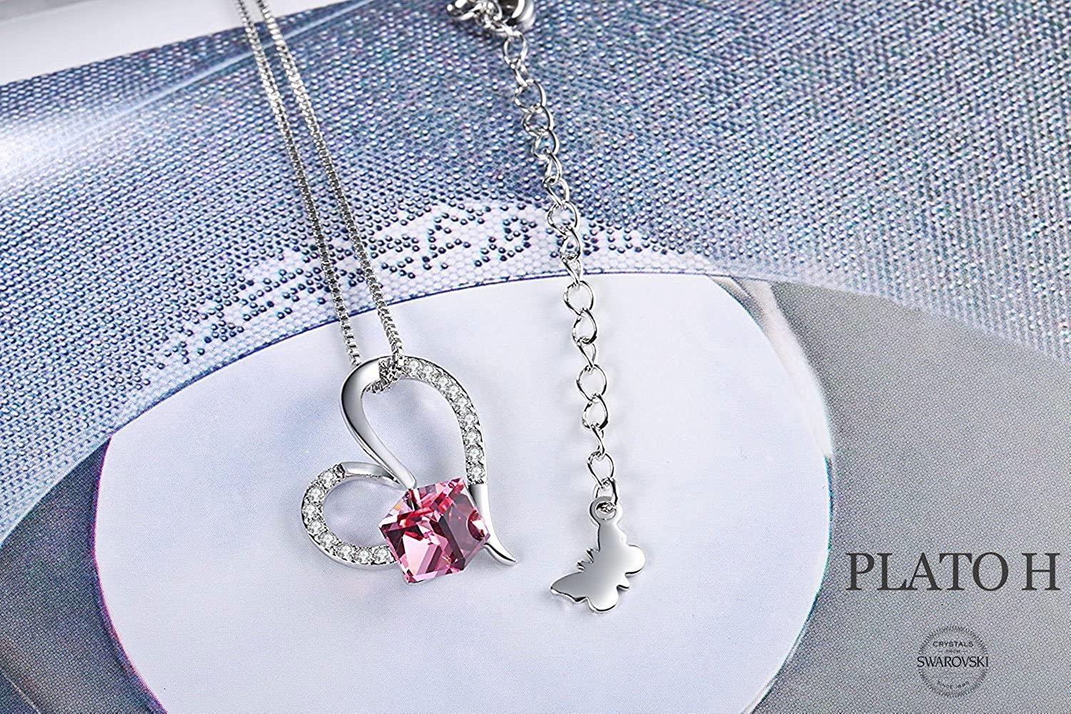 PLATO H Purple Pink Crystal Heart Necklace for Woman Heart Color Changing Necklace with Swarovski Crystal, Heart Birthstone Necklace Birthday Gifts for Girlfriend, Wife, Mom or Daughter