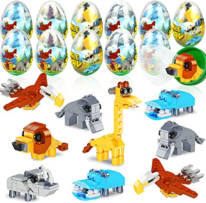 Party Favor Easter Basket Stuffers//Fillers JOYIN 12 Pcs Prefilled Easter Eggs with Space Ship Building Blocks for Easter Eggs Hunt Classroom Prize Supplies