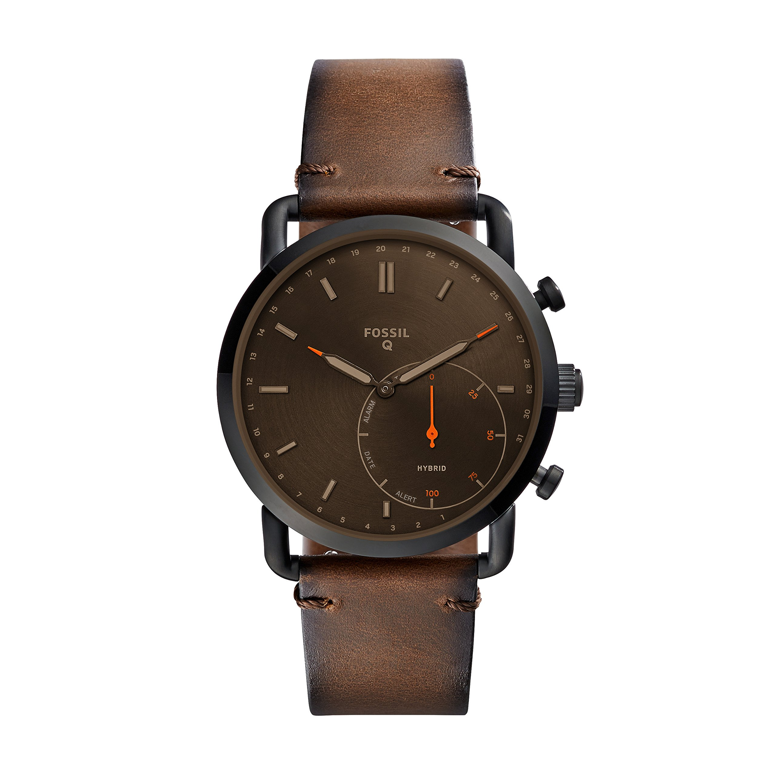 Fossil Men's Commuter Stainless Steel and Leather Hybrid Smartwatch, Color: Black, Brown (Model: FTW1149) by Fossil