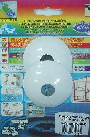 S&m EMBELLECEDOR FONTANERIA S& M TUBO INODORO PVC 15x25MM 750762 ...
