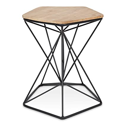 classic fit 07eaa 468a7 Kate and Laurel Ulane Modern Side Table, Geometric Shape Wood Top and Metal  Wire Base, Two-Tone Finish in Black and Natural Light Brown