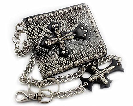 414030700ee Image Unavailable. Image not available for. Color  Mens Studded Gothic Skull  Cross Biker Rocker Leather ...
