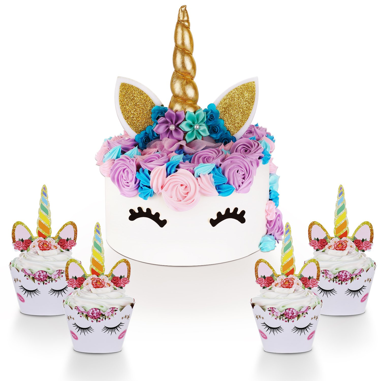 Unicorn Cake Topper With Eyelashes And Cupcake Toppers Wrappers Set