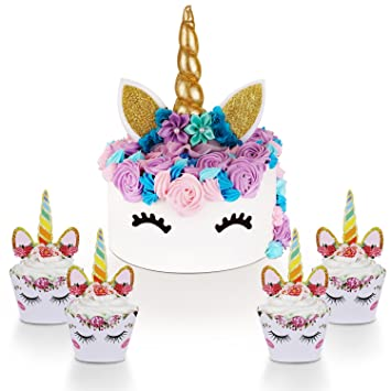 Unicorn Cake Topper With Eyelashes And Unicorn Cupcake Toppers
