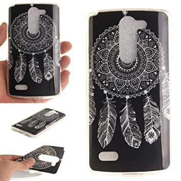 Qiaogle Teléfono Caso - Funda de TPU silicona Carcasa Case Cover para LG L Bello D331 D335 D337 (5.0 Pulgadas) - TX38 / Blanco feathers Windbell