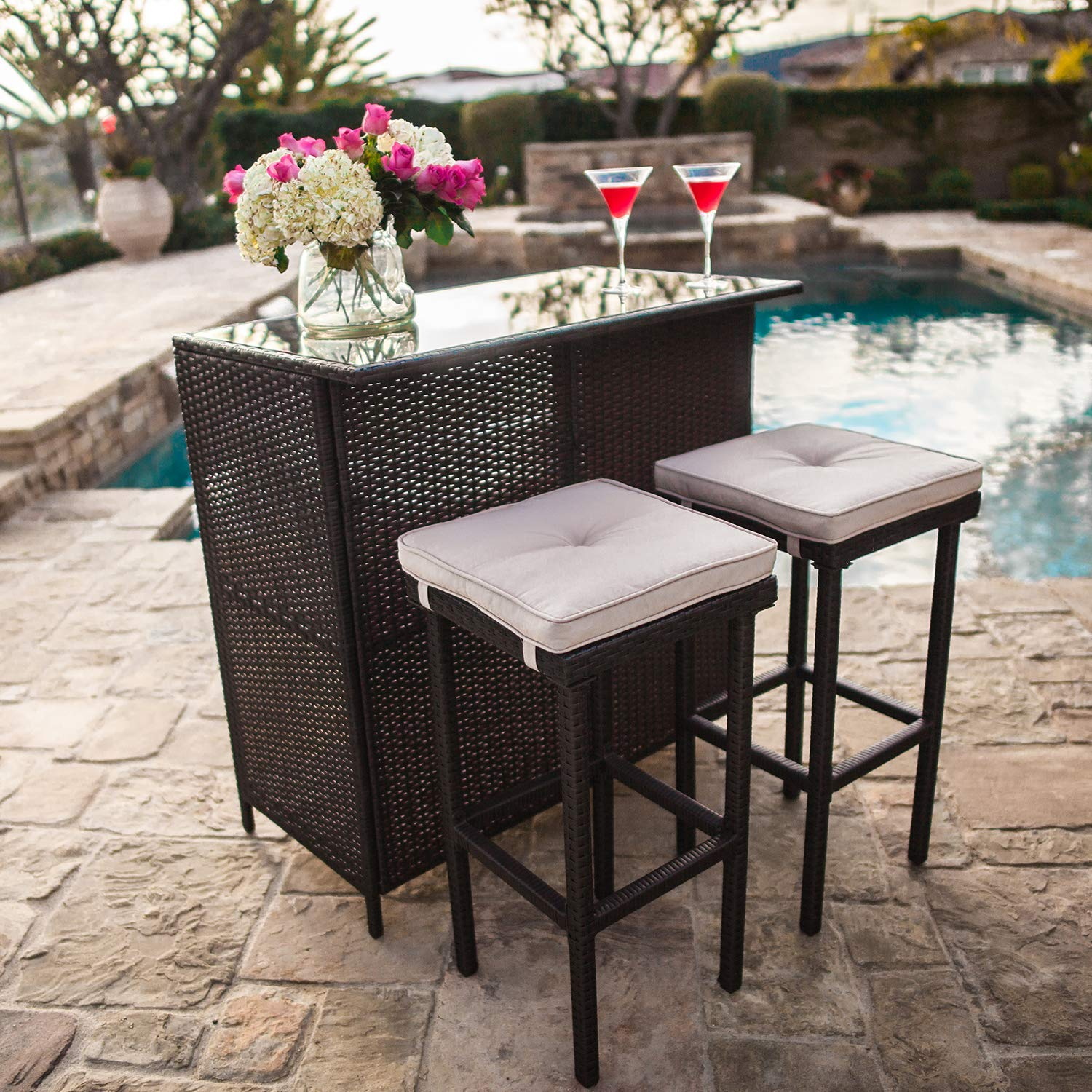 SUNCROWN Outdoor Bar Set 3-Piece Brown Wicker Patio Furniture - Glass Bar and Two Stools with Cushions for Patios, Backyards, Porches, Gardens or Poolside by SUNCROWN
