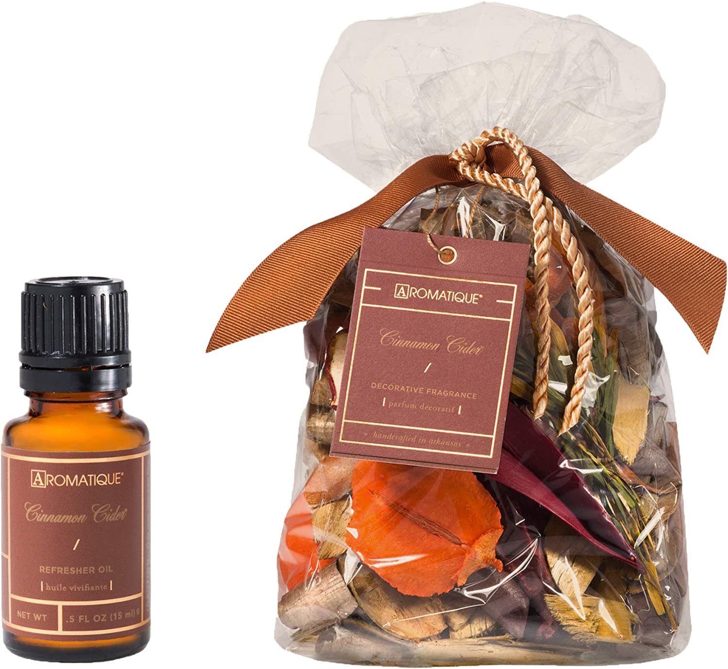 Aromatique Decorative Potpourri - Cinnamon Cider 8oz Bag and Cinnamon Cider Refresher Oil 5-fl. oz. (15ml) Featuring a Gute Carrying Bag (3 Piece Bundle)