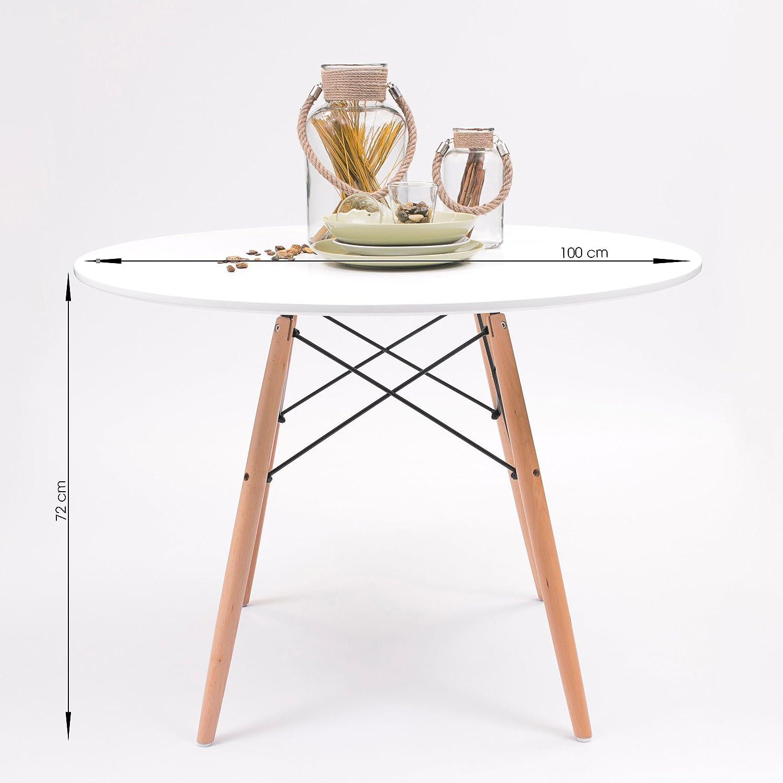Mesa de cocina / comedor TOWER redonda 100 cm. Tapa lacada blanca ...