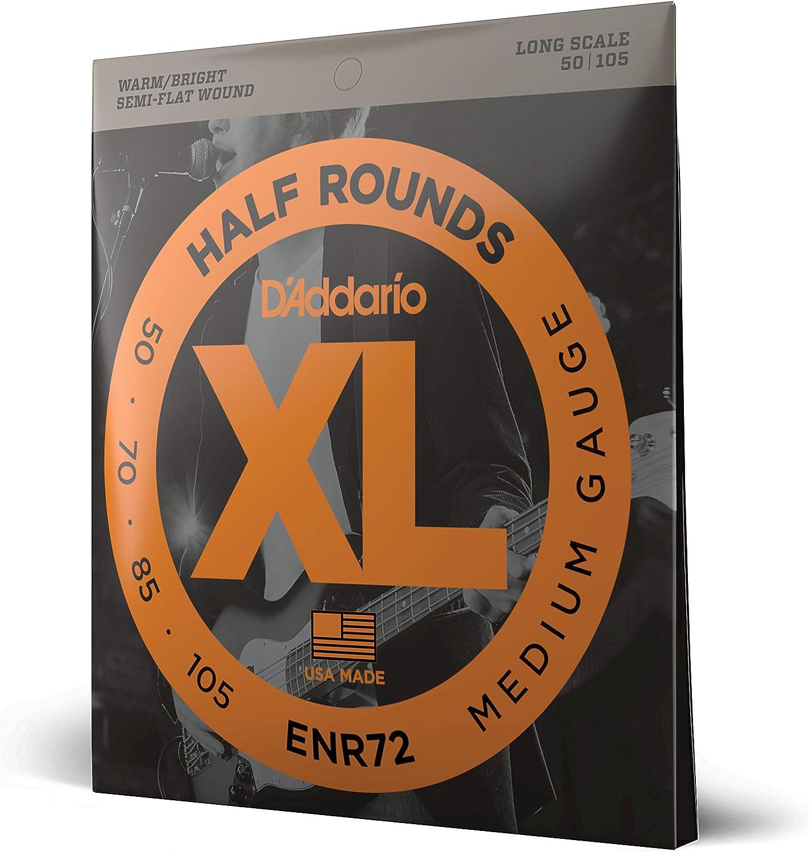 50-105 Long Scale Medium DAddario ENR72 Half Round Bass Guitar Strings