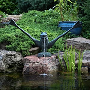 Aquascape 78312 Crazy Legs Frog Pond and Garden Water Fountain, Patina