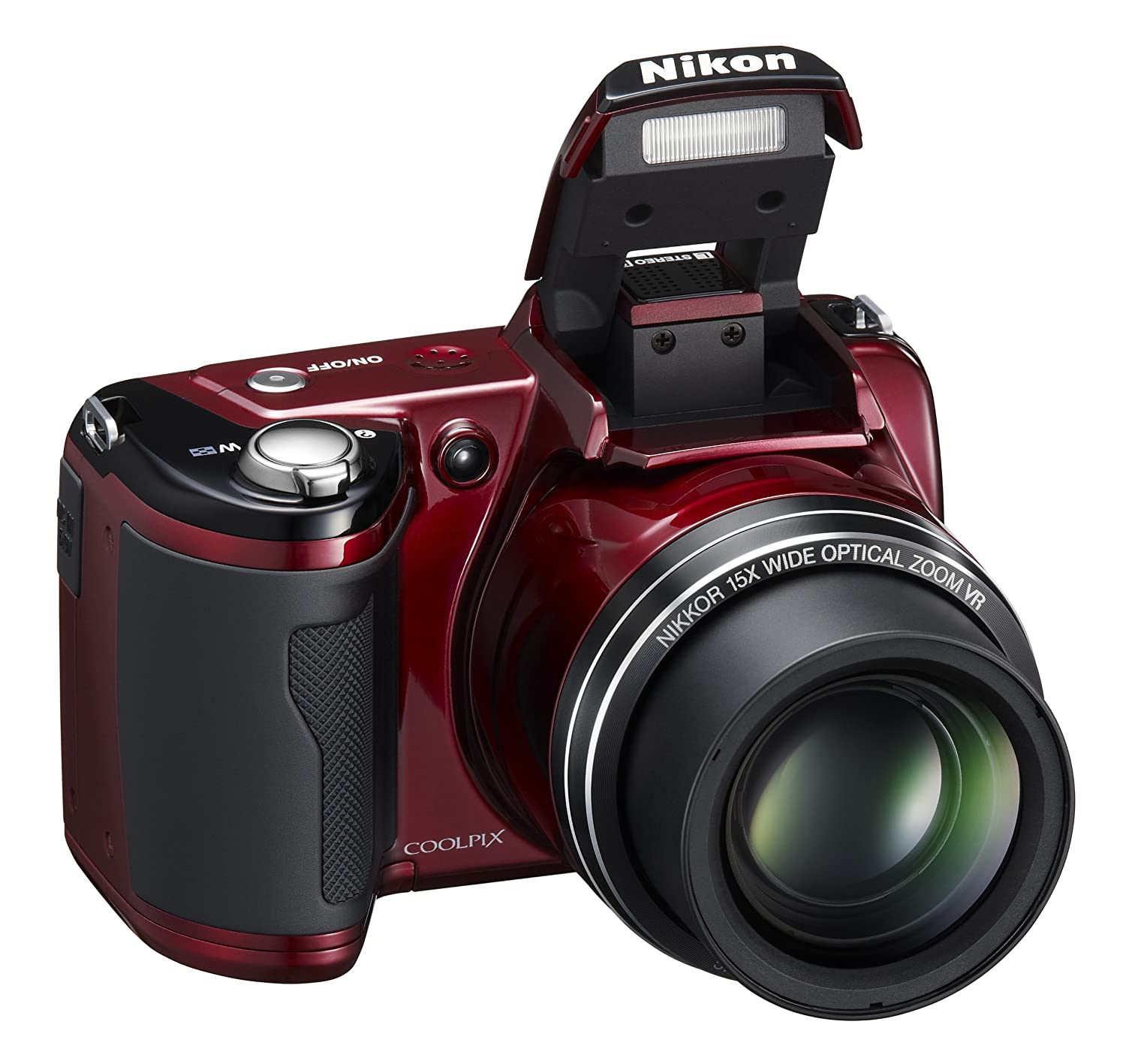 Amazon.com : Nikon Coolpix L110 12.1MP Digital Camera with 15x Optical  Vibration Reduction (VR) Zoom and 3.0-Inch LCD (Red) : Point And Shoot  Digital ...