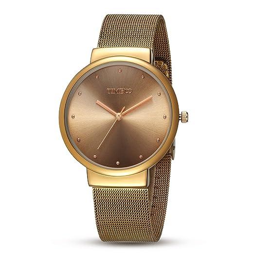 Time100 Reloj pulsera de moda con calendario para hombre, correa de metal de color dorado: Amazon.es: Relojes