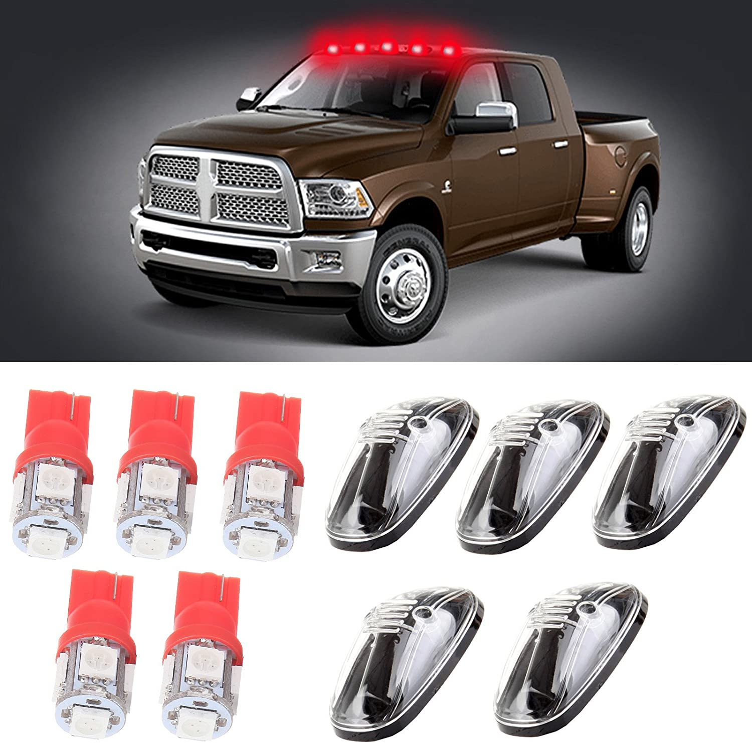 5x T10 W5W Wedge 168 194 LED Bulb Replacement fit for 1999-2002 Dodge Ram 2500 3500 4500 cciyu 5x Clear LED Cab Roof Marker Clearance Covers