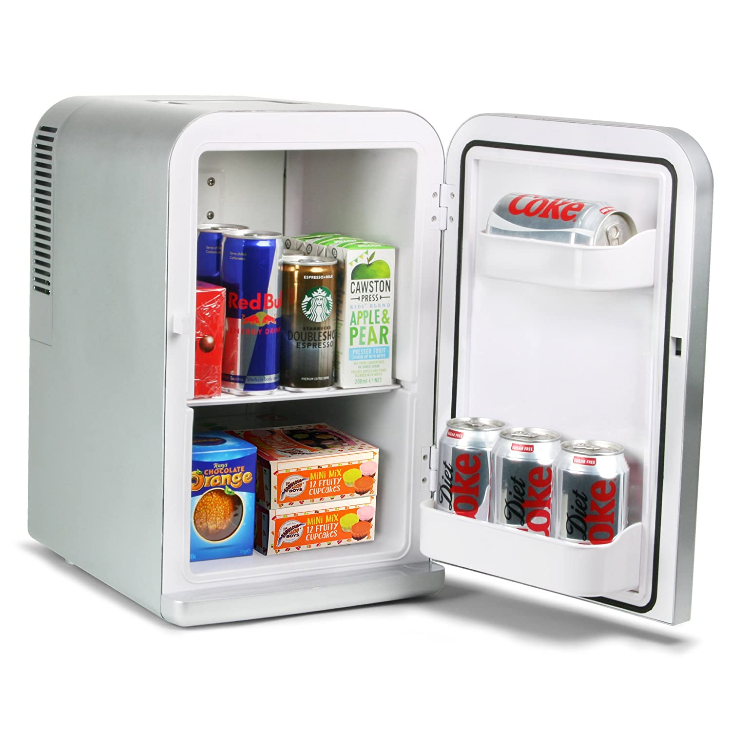 15 Litre Mini Fridge Cooler and Warmer - Silver | Thermoelectric Food & Drinks Chiller Ideal for Offices [Energy Class A++] bar@drinkstuff