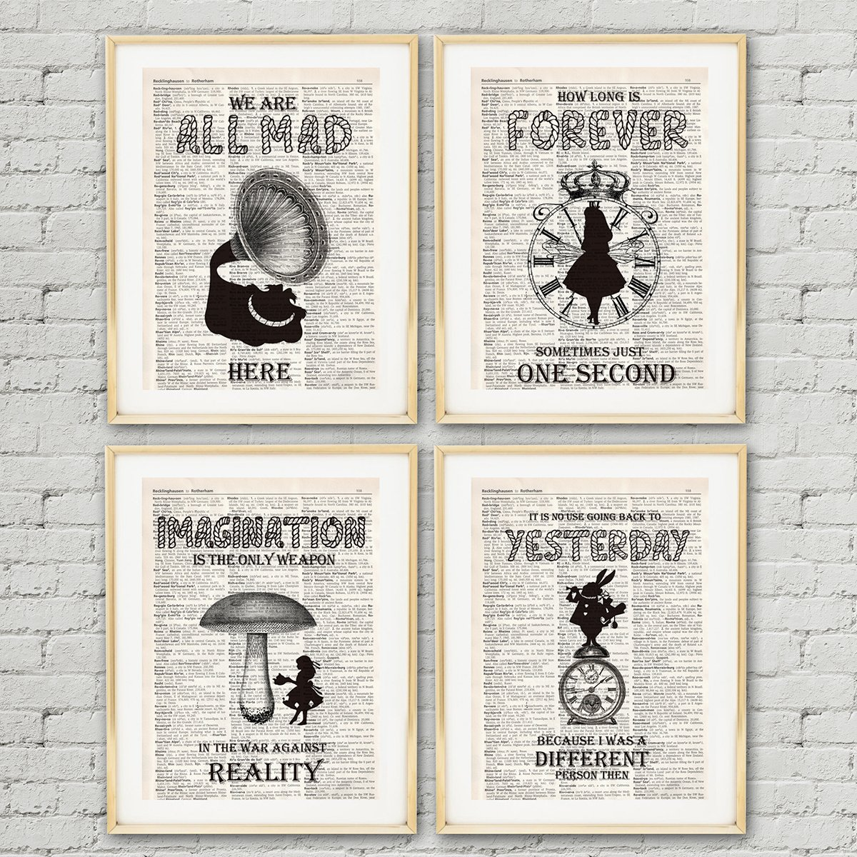 IHopes+ Alice in Wonderland Imagination Quotes and Sayings Vintage Book Art Prints | Set of Four Photos 8x10 Unframed | Great Gift for Living Room Bedroom Office Decor