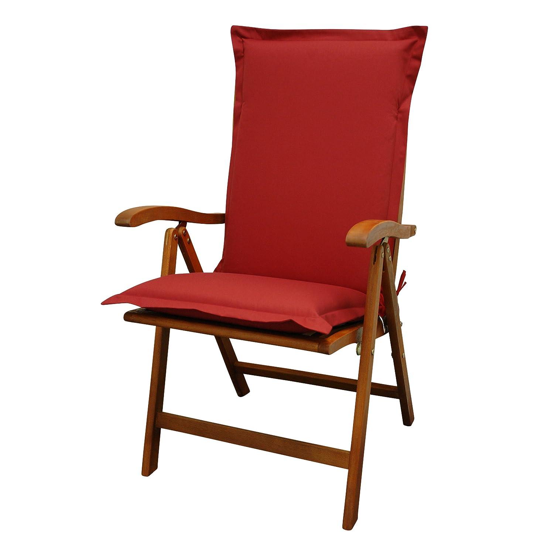 IND-70432-AUHL Sitzauflage Hochlehner Premium, extra dicke Polsterauflage mit Reißverschluss, 120 x 50 x 9 cm, Rot