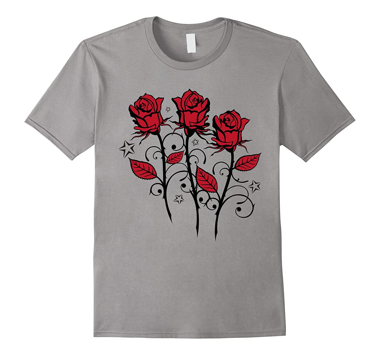 T-Shirt. Beautiful red roses and leaves with stars, Tattoo.-FL