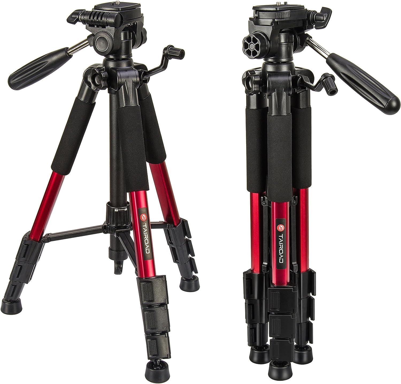 Trípode ligero - Trípode compacto para cámara de 140cm con cabezal panorámico de 360 grados y una placa de liberación rápida para SLR Canon Digital EOS Nikon Sony Samsung Panasonic(Rojo)