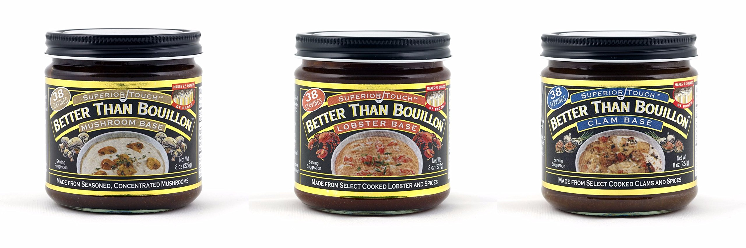 Bundle of 3: Better Than Bouillon Mushroom Base, Lobster Base, Clam Base