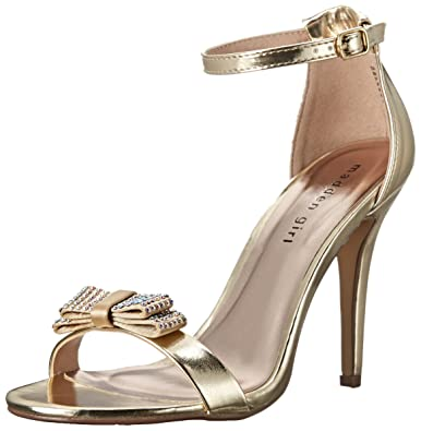 Madden Girl Womens Darlaaa Open Toe Special Occasion Gold Paris Size 85