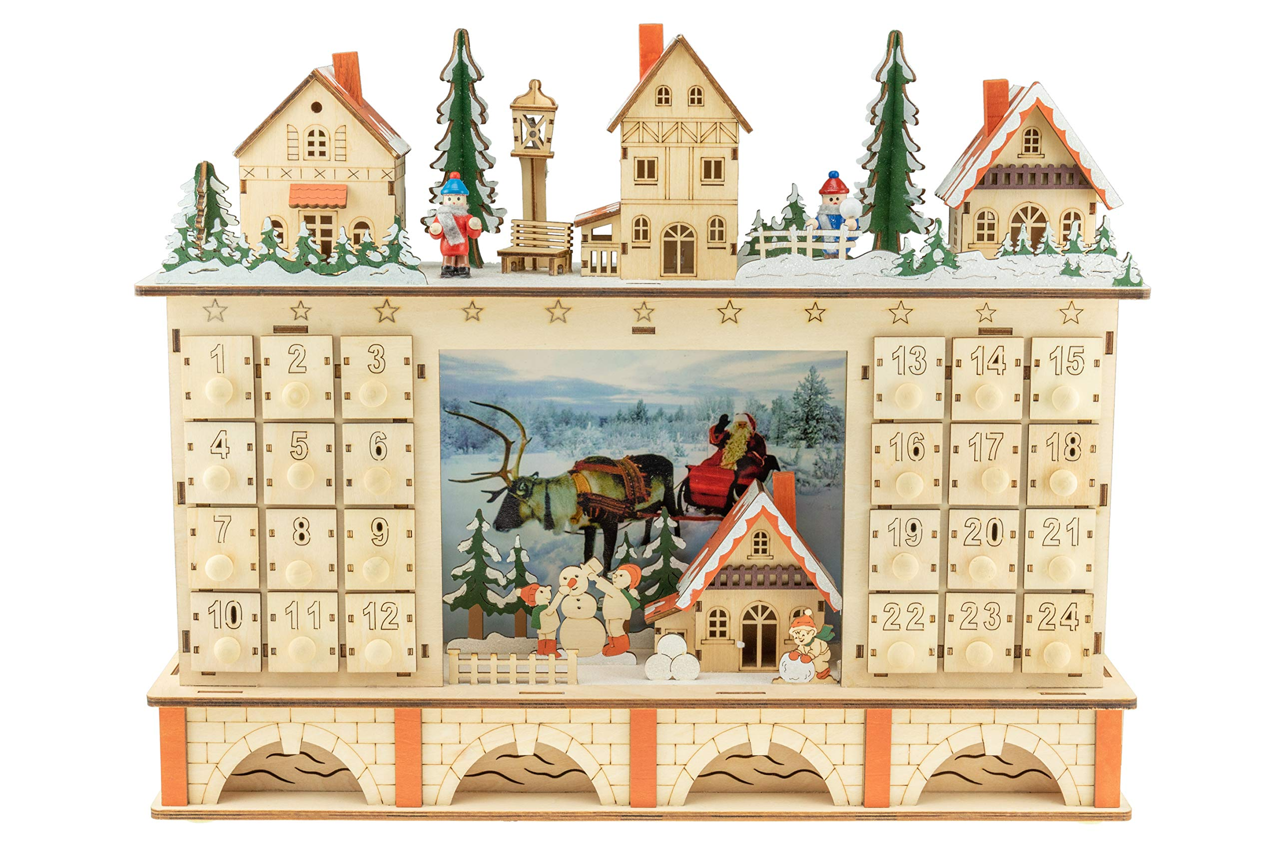 Clever Creations Traditional LED Wooden Advent Calendar Decoration | Festive Christmas Village Design with 24 Drawers | LED Christmas Lights and Santa Photo | Battery Operated
