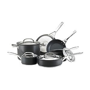 Infinite Circulon Hard Anodized Nonstick Cookware Set, 10-Piece, Black