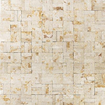 mosaico di rete piastrella parquet splitface Sunny beige 3 D ...